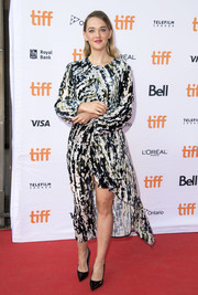 Jess Weixler chose an abstract-print dress by Marni for the TIFF premiere of 'Who We Are Now.'