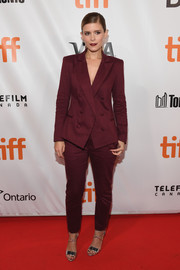 Kate Mara looked smart in a double-breasted burgundy suit at the TIFF premiere of 'My Days of Mercy.'