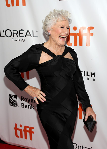 Glenn Close attended the TIFF premiere of 'The Wife' sporting a black hard-case clutch and cutout gown combo.