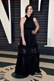 Sara Bareilles kept it cute and breezy in a black lace-panel halter gown by Maria Lucia Hohan at the Vanity Fair Oscar party.