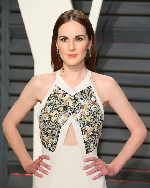 More Pics of Michelle Dockery Dangling Gemstone Earrings (1 of 3) - Dangle Earrings Lookbook - StyleBistro [clothing,fashion model,fashion,dress,beauty,shoulder,neck,yellow,cocktail dress,hairstyle,michelle dockery,graydon carter - arrivals,jean-baptiste,british,wallis annenberg center for the performing arts,vanity fair,oscar party,vanity fair party,afp,academy awards]