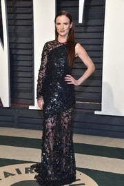 Juliette Lewis was modern-chic in a beaded one-sleeve gown by Christian Siriano at the Vanity Fair Oscar party.