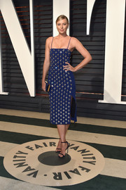 Maria Sharapova looked fabulous in a mirror-embellished cobalt dress by David Koma at the Vanity Fair Oscar party.
