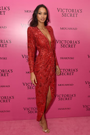 Lais Ribeiro was sexy and sophisticated in a beaded red Zuhair Murad Couture dress at the 2017 Victoria's Secret fashion show after-party.