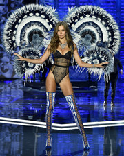 Josephine Skriver turned up the heat in a black lace bodysuit at the 2017 Victoria's Secret fashion show.