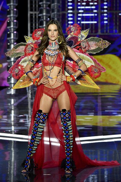 A pair of tribal-patterened over-the-knee boots finished off Alessandra Ambrosio's runway look.