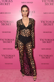 Sara Sampaio flashed plenty of skin in a black mesh gown by Naeem Khan at the 2017 Victoria's Secret fashion show after-party.