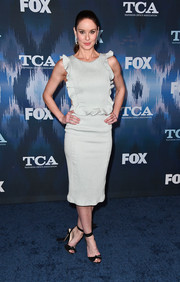 Sarah Wayne Callies went sweet in a pearl-gray ruffle dress by John Paul Ataker at the 2017 Winter TCA Tour Fox All-Star Party.