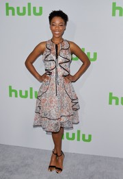 Samira Wiley brought a whiff of spring to the 2017 Hulu TCA Winter Press Tour with this floral ruffle frock by Sachin & Babi.