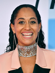 Tracee Ellis Ross added major glamour with a statement diamond choker by Jacob & Co.