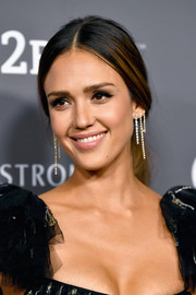 Jessica Alba accessorized with some dangling diamond earrings by Anita Ko for an ultra-glam finish.