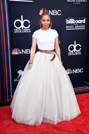 Janet Jackson glammed up her tee with a white ball skirt by Rami Kadi.