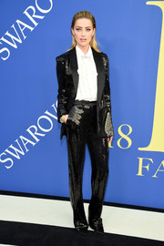 Amber Heard shimmered in a sequined tuxedo by Michael Kors at the 2018 CFDA Fashion Awards.