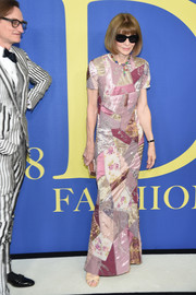 Anna Wintour kept it fun yet elegant in a patchwork column dress at the 2018 CFDA Fashion Awards.