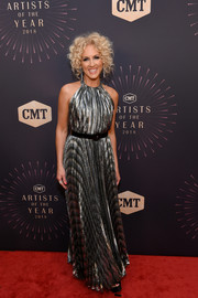 Kimberly Schlapman glowed in a silver halter gown by Maria Lucia Hohan at the 2018 CMT Artists of the Year event.