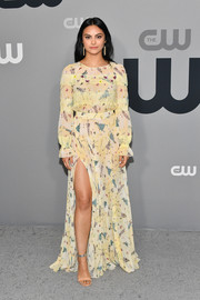 Camila Mendes donned a printed yellow maxi dress by Elisabetta Franchi for the 2018 CW Network Upfront.
