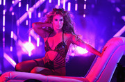 Jennifer Lopez worked her curves in a barely-there bodysuit by Bao Tranchi at the 2018 DirecTV Now Super Saturday Night concert.