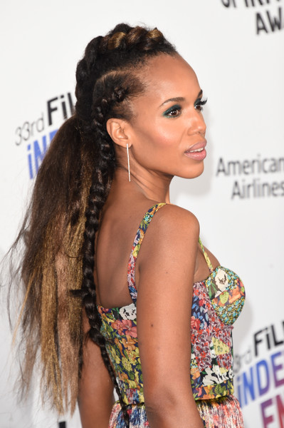 Kerry Washington went punky with this partially braided, teased hairstyle at the 2018 Film Independent Spirit Awards.
