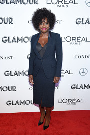 Viola Davis was all business in a navy skirt suit at the 2018 Glamour Women of the Year Awards.