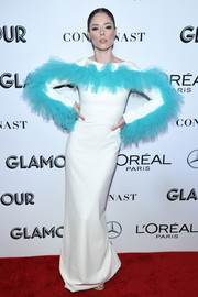 Coco Rocha looked avant-garde in a white Christian Siriano column dress with blue tulle detailing at the 2018 Glamour Women of the Year Awards.