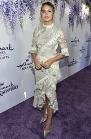 Bailee Madison went the ladylike route in a pearl-gray Zimmermann dress with floral embroidery and lace-up detailing at the 2018 Hallmark Channel Summer TCA event.