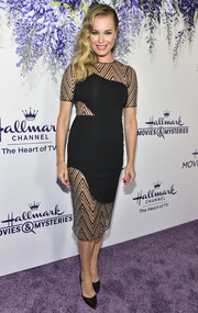 Rebecca Romijn looked sultry in a sheer-panel LBD by Haney at the 2018 Hallmark Channel Summer TCA event.