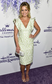 Candace Cameron Bure looked sophisticated in a flutter-sleeve floral dress by ML Monique Lhuillier at the 2018 Hallmark Channel Summer TCA event.