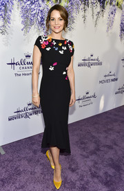 Kimberly Williams-Paisley looked darling in a black cocktail dress with colorful flower appliques at the 2018 Hallmark Channel Summer TCA event.