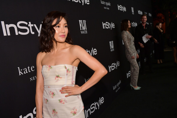 More Pics of Constance Wu Strapless Dress (1 of 3) - Constance Wu Lookbook - StyleBistro [red carpet,premiere,red carpet,dress,beauty,fashion,shoulder,hairstyle,carpet,event,flooring,constance wu,instyle awards,the getty center,los angeles,california]