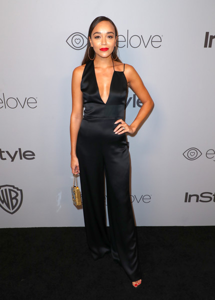 Ashley Madekwe was modern and sexy in a black Cushnie et Ochs jumpsuit with a plunging, asymmetrical neckline at the Warner Bros. and InStyle Golden Globes after-party.