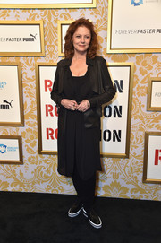 Susan Sarandon went edgy in a black leather-panel trenchcoat the 2018 Roc Nation brunch.