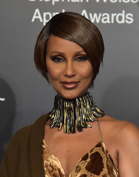 Iman went modern with this graduated bob at the 2018 Stephan Weiss Apple Awards.