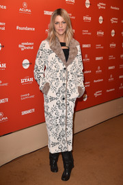 Kailtin Olson attended the Sundance premiere of 'Arizona' wearing a printed coat with fur lapels and cuffs.