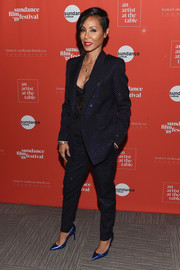 Jada Pinkett Smith was androgy-glam in a sparkling navy pantsuit at the 2018 Sundance Film Festival Artist at the Table reception.