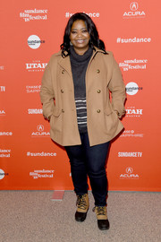 Octavia Spencer teamed snow boots with jeans, a turtleneck, and a pea coat for the Sundance premiere of 'A Kid Like Jake.'