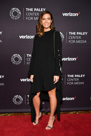 Mandy Moore injected some shine with a pair of silver ankle-strap sandals by Casadei.