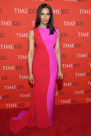 Padma Lakshmi went for a bold color combo with this Christian Siriano fishtail gown at the 2018 Time 100 Gala.