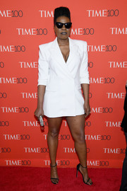 Leslie Jones flashed plenty of leg in a white blazer dress by Christian Siriano at the 2018 Time 100 Gala.