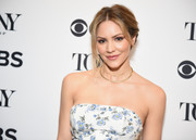 Katharine McPhee styled her hair into a glamorous chignon for the 2018 Tony Awards nominations announcement.