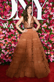 Sara Bareilles enchanted in a J. Mendel ball gown with an embroidered bodice and a ruffled skirt at the 2018 Tony Awards.