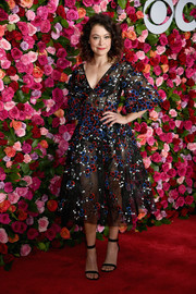 Tatiana Maslany showed off her sultry side in a sheer, embroidered dress by Zac Posen at the 2018 Tony Awards.