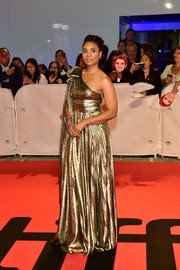 Regina Hall looked like a goddess in a one-shoulder lamé gown by Alberta Ferretti at the TIFF premiere of 'The Hate U Give.'