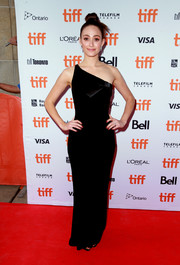 Emmy Rossum was sleek and elegant in a black one-shoulder column dress by Armani at the TIFF premiere of 'Homecoming.'