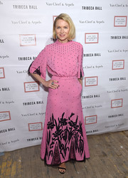 Naomi Watts was sweet and chic in a pink Attico gown with black beading and floral embroidery at the 2018 TriBeCa Ball.