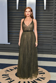 Zoey Deutch was all about easy sophistication in a green and black halter gown by Dior at the 2018 Vanity Fair Oscar party.