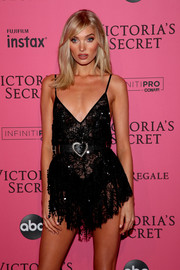 Elsa Hosk was boudoir-chic in a sheer lace slip dress by Alessandra Rich at the 2018 Victoria's Secret after-party.