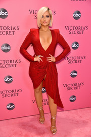 Bebe Rexha took a bold plunge with this low-cut, strong-shouldered dress by Alexandre Vauthier at the 2018 Victoria's Secret fashion show.