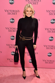 Yolanda Hadid looked ageless in a black catsuit at the 2018 Victoria's Secret fashion show.
