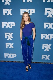 Hilary Swank showed off her slim physique in a fitted royal-blue tee by Armani at the 2018 Winter TCA Tour.