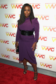 Uzo Aduba perfected her look with a pair of black lace-up heels by Dsquared2.